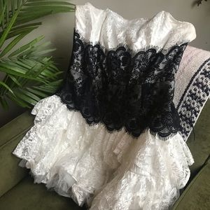 Dresses & Skirts - White black strapless lace prom dress plus 2XL XXL